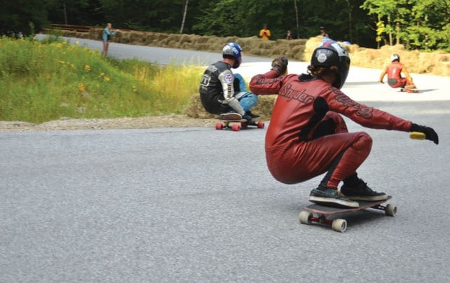 Longboarders reach daredevil speeds at the Downhill Throwdown