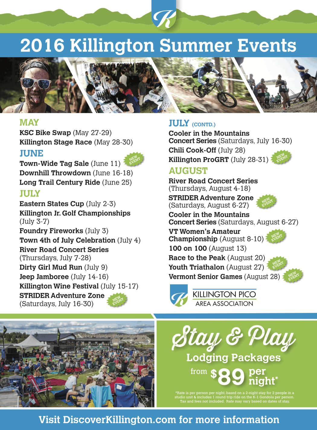 2016 Killington Summer Events Schedule
