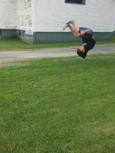 Toro does a flip, seemingly effortless and natural to him.