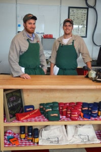 Pictured left to right, Nick DeLauri and JD Sharp standing at the counter of the new vermont butcher shop in Rutland