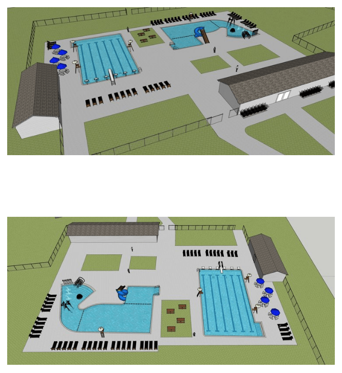 Submitted Renditions of the pool area show the pools in addition to bath houses.