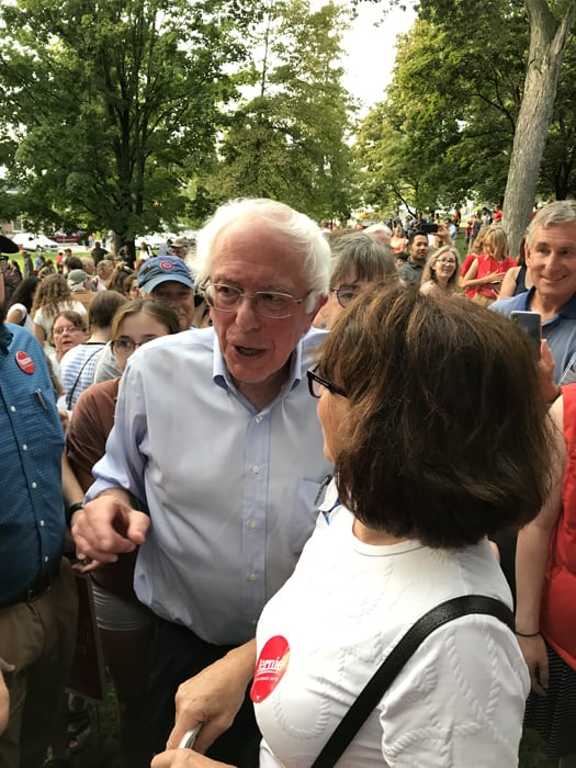 By Duane Finger Bernie Sanders held a rally in Middlebury on Labor Day drawing hundreds.