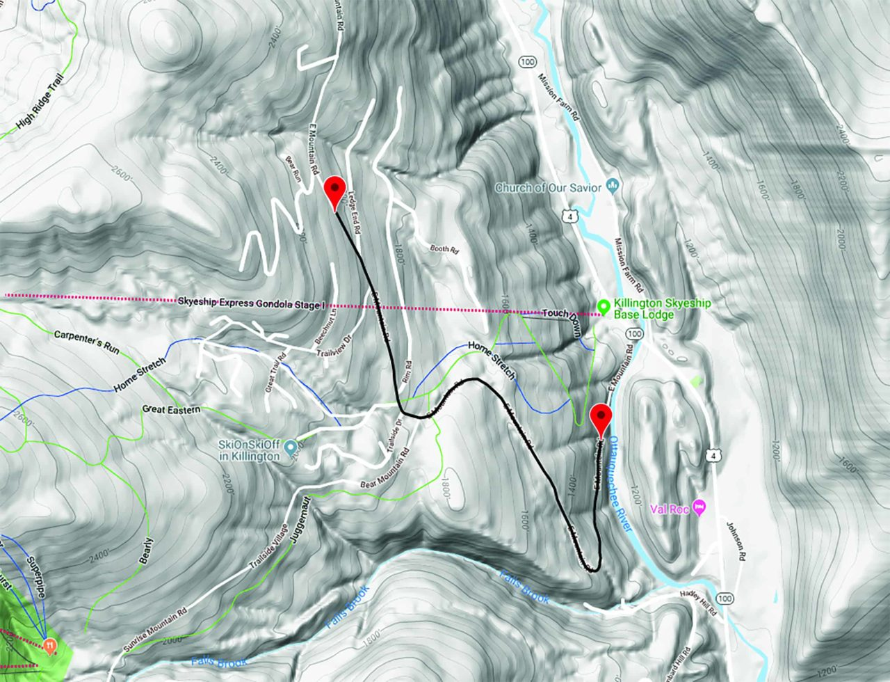 Submitted A map of the IDF World Cup course shows the start and finish on East Mountain Road.