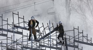 Crews make progress Nov. 11 building the spectator grandstands for the World Cup at Killington Resort, which takes place Nov. 23-25.