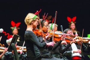 Courtesy Vermont Symphony Orchestra Clarendon local Stefanie Taylor, center, will lead the viola players in the Vermont Symphony Orchestra in a holiday concert at the Paramount Theatre this Sunday, Dec. 16.