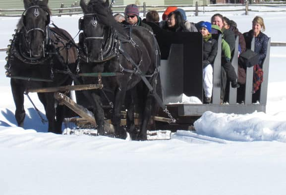 Snow covered grounds welcome all for Sleigh Ride Weekend at Billings
