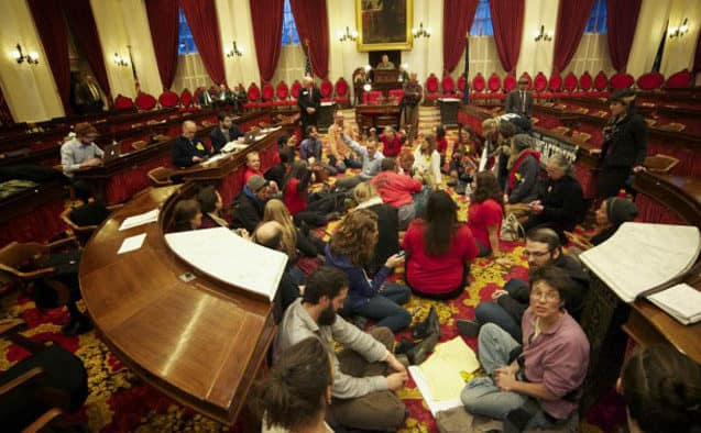 Universal healthcare advocates stage sit-in