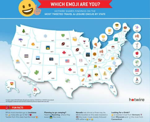 Hotwire: Most popular travel emojis by state