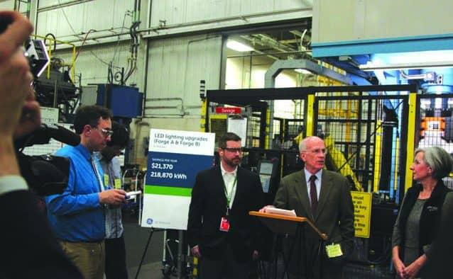 Welch applauds energy savings at GE plant
