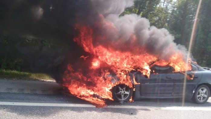 Car catches fire on I89
