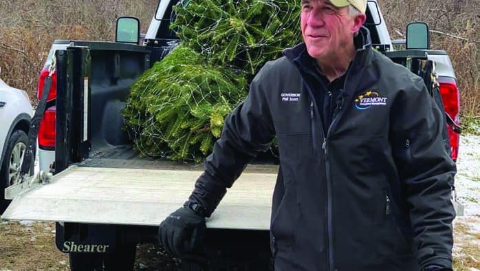 Gov. Scott celebrates the season with hand cut Vermont christmas trees
