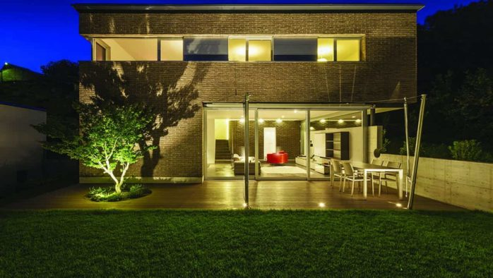 Exterior lighting adds ambiance to a property