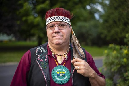 Abenaki Chief Don Stevens delighted the Ludlow Rotary as guest speaker