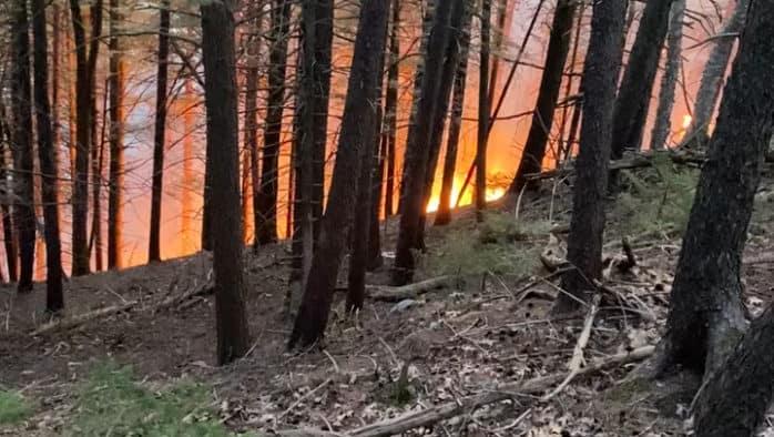 Forest fire burns in Killington