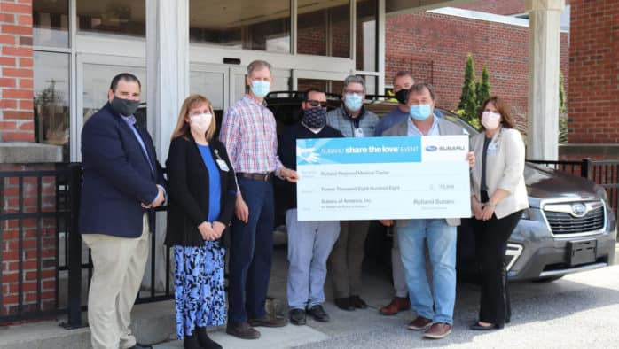 Subaru Shares the Love with a donation of $12,808 to Rutland Regional Medical Center