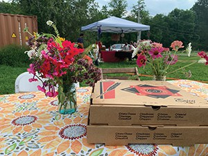 Eat pizza and listen to live tunes in the meadow